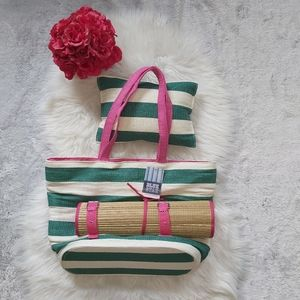 Picnic Beach Bag with Pillow and Rattan Throw